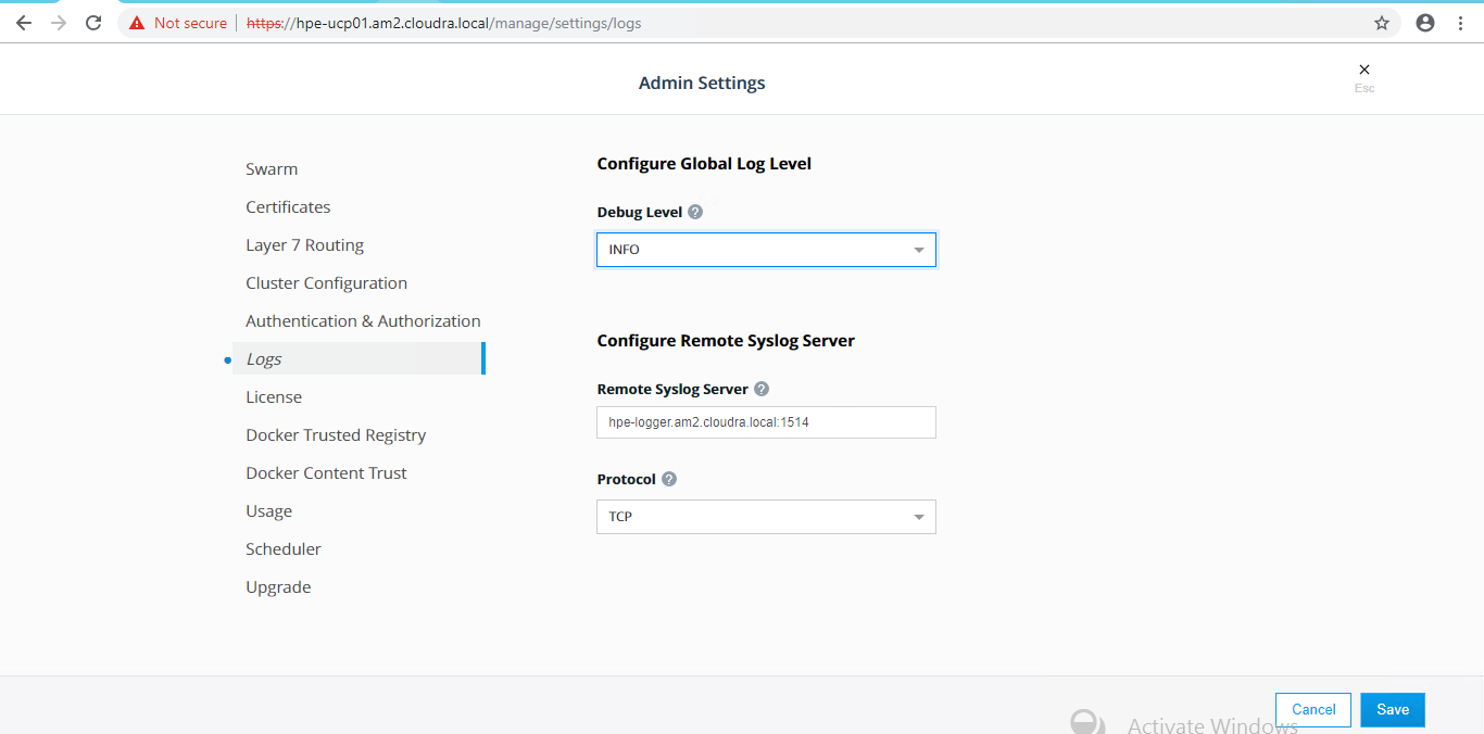 Splunk configuration | HPE Enterprise Containers